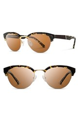 Women's Shwood 'Hayden' 53Mm Acetate And Wood Sunglasses Dark Speckle Gold Brown