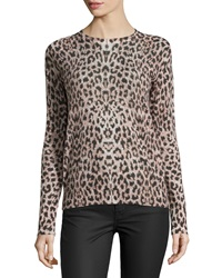 Equipment Sloane Crewneck Leopard Print Sweater Stone Multi