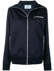Prada Logo Patch Track Jacket Blue