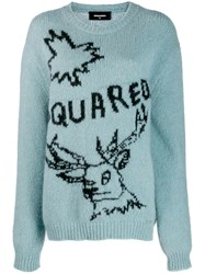 Dsquared2 Oversized Embroidered Motif Sweater Blue