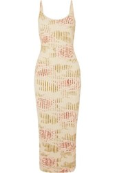 Paco Rabanne Floral Print Ribbed Cotton Blend Maxi Dress Cream