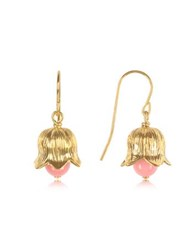 Aurelie Bidermann 18K Gold Plated Lily Of The Valley Earrings W Pink Bamboo Pearl