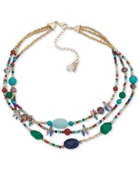 Lonna And Lilly Gold Tone Multicolor Bead Triple Row Collar Necklace 16 3 Extender