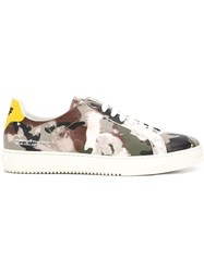 Off White Camouflage Effect Sneakers Grey