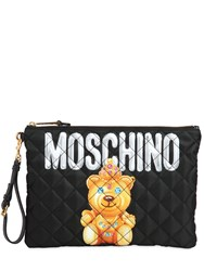 Moschino Large Teddy Bear Quilted Nylon Clutch
