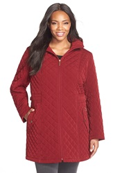 Gallery Hooded Quilted Jacket Plus Size Claret