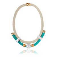 Iris Handmade Statement Necklace Blue Gold Green