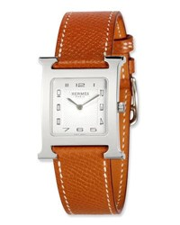 Herm S Heure H Mm Watch With Epsom Leather Strap