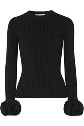 Valentino Silk Georgette Trimmed Ribbed Stretch Knit Sweater Black