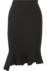 Givenchy Asymmetric Ruffled Stretch Crepe Skirt Black