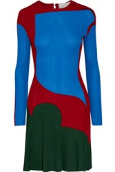 Esteban Cortazar Color Block Stretch Knit Mini Dress Bright Blue