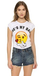 Happiness He's My Bae Emoji Tee White