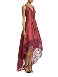 Monique Lhuillier Lace Trim Hi Lo Gown Dusty Rose