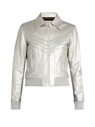 Saint Laurent Leather Bomber Jacket Silver