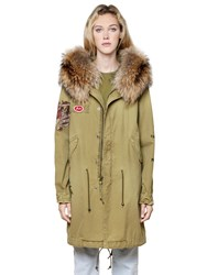 Mrandmrs Italy Printed Canvas Parka W Fur Collar