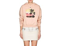 Off White C O Virgil Abloh Sunset Graphic Cotton Crop Hoodie