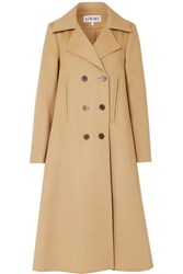 Loewe Double Breasted Wool And Cashmere Blend Coat Camel