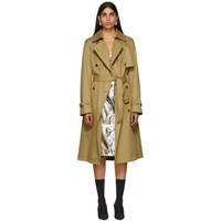 Paco Rabanne Tan Double Breasted Trench Coat