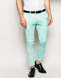 Asos Super Skinny Fit Cropped Trousers In Mint