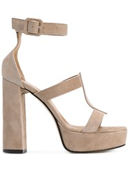 Marc Ellis Ankle Strap Platform Sandals Nude Neutrals