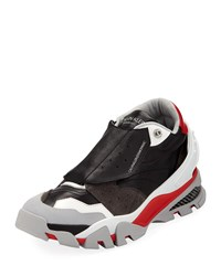Calvin Klein Cander 7 Leather And Neoprene Sneakers Black Red