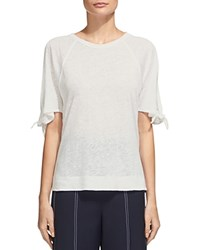 Whistles Tie Cuff Cold Shoulder Tee White