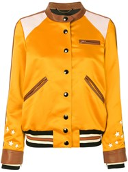 Coach Varsity Racer Bomber Jacket Women Polyester Viscose 4 Yellow Orange