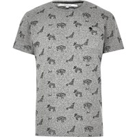 Bellfield River Island Mens Grey Animal Print T Shirt