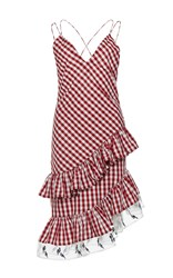 Rahul Mishra Gingham Asymmetric Ruffled Dress Red