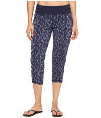 Lucy Get Going Capri Navy Dove Grey Origami Print Women's Workout Blue