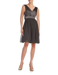 Vera Wang Satin Fit And Flare Dress Smoke