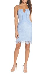 Harlyn Scallop Hem Lace Cocktail Sheath Powder Blue