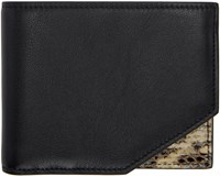 Jil Sander Black Leather And Python Bifold Wallet