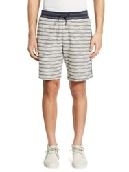 Madison Supply Striped Knit Cotton Shorts Navy