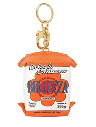 Dolce And Gabbana Bellezza Carton Leather Keychain White Orange