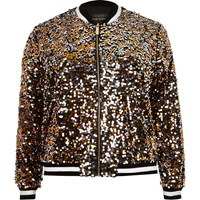 River Island Womens Plus Gold Sequin Bomber Jacket