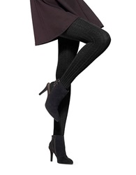 Hue Heat Temp Cable Knit Tights Black