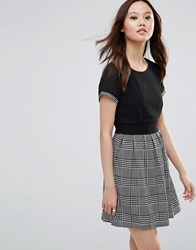 Wal G Skater Dress With Check Skirt Black White