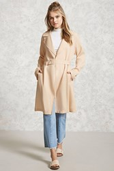 Forever 21 Textured Belted Trench Coat Taupe