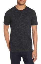 Calibrate Space Dyed One Button Henley T Shirt Black Spacedye