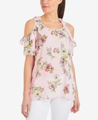 Ny Collection Printed Cold Shoulder Top Pink Flowerfest
