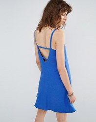 Mango Caged Back Skater Dress Blue