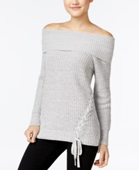 Jessica Simpson Lace Up Off The Shoulder Sweater Heather Grey