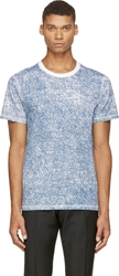 Kris Van Assche Blue And White Denim Print T Shirt