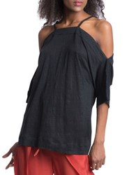 Plenty By Tracy Reese Shoulder Tie Top Black