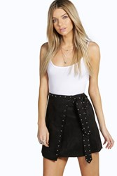 Boohoo Sophia Studded Suede Look Wrap Skirt Black