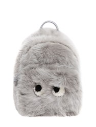 Anya Hindmarch Mini Eyes Shearling And Leather Backpack