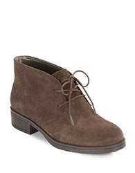 Bandolino Talon Suede Lace Up Booties Dark Taupe