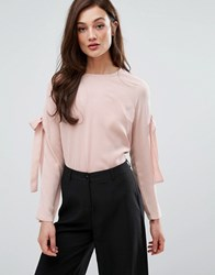 Fashion Union Top With Bow Arm Detail Beryl Nude Pink