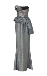 Elizabeth Kennedy Strapless Gown With Asymmetrical Draped Bodice And Bubble Peplum Metallic